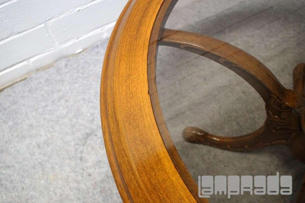 runder ART DECO TISCH Couchtisch geschnitzt Glasplatte